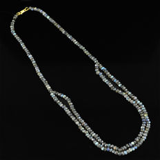 Labradorite necklace with 18 kt (750/1000) gold, length 50cm