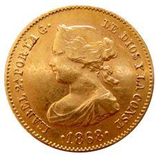 Spain - Isabel II (1833–1868) - 4 escudos in gold - 1868 - Madrid