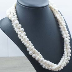 3-strand necklace with Rio cultured pearls and 925 silver - 45 cm