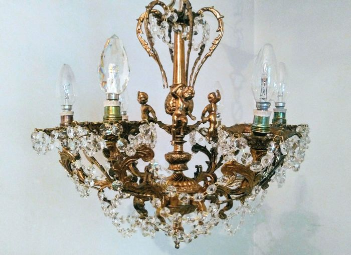 Brass rococo cherub 6 lights crystal chandelier 20th century brass rococo cherub 6 lights crystal chandelier 20th century aloadofball