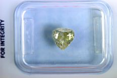 """Heart Shape"" diamond of 1.06 ct - Fancy VIVID Greenish Yellow"