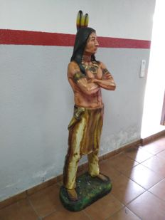 Figure of American Indian, 160 cm height, fibre and resin.