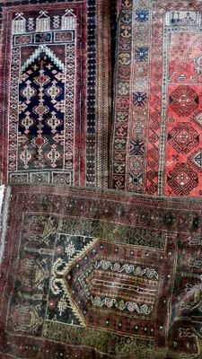 3 Stunning Balouch rugs Prayer Afghanistan wool on cotton very good condition (A 130x85 . B 130X85 . C 135X90   )