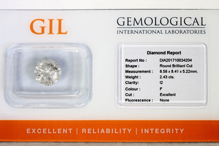 * No reserve price* - Diamond of 2.43 ct -  F, I2 – Excellent cut