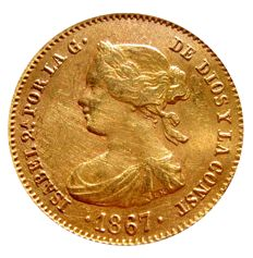 Spain - Isabel II (1833-1868), 4 escudos gold coin - 1867 - Madrid.