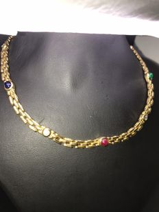 Diamond, emerald, sapphire and ruby necklace in 750/18 kt yellow gold, 38 cm 4 diamonds + 1 emerald, 1 sapphire and 1 ruby