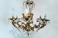 Brass Rococo & Cherub 6 Lights Crystal Chandelier, 20th century