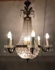 "Beautiful bronze French ""Sac à Perles"" chandelier, France, 1st half of 20th century"