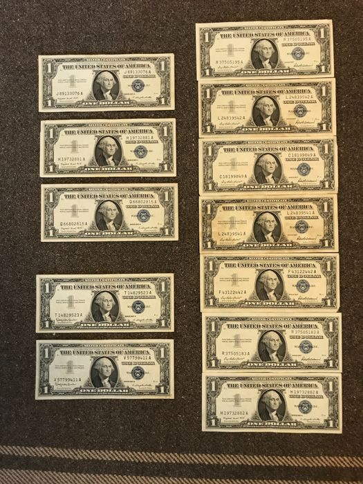 Usa 12 X 1 Dollar 1957 A And B Silver Certificate Pick 419a