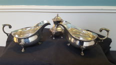 A1 Alexander Scott 2 x creamer and Ornate Silver Plated Salt