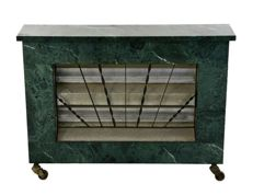 1960's German electric heater with green marble from Guatemala (fireplace look)