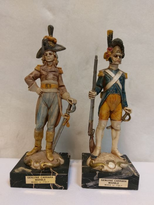 2 Geuine Carrara Marble soldiers , Italy