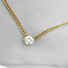 Classic Diamond Pendant attached to its Chain, as new