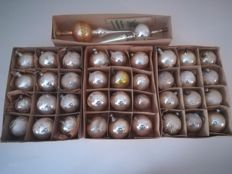 36 old Christmas balls and 2 tree spikes in mercury glass