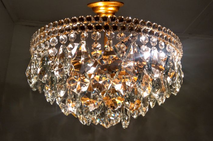 A brass and crystal chandelier, Flush Mount 1970s