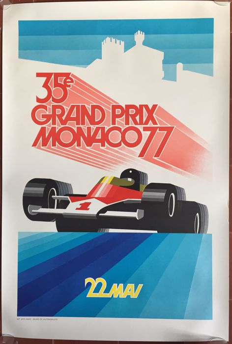 35th Grand Prix Automobile of Monaco 1977 - poster 68 x 101 cm - printed in 1990