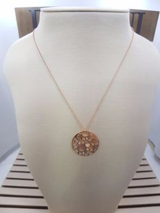 Damiani Rose Gold Pendant on Chain with Diamonds, Necklace Length 50cm & Pendant Length 3cm