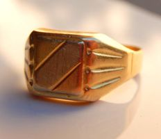 Table signet ring in 3 18 kt golds