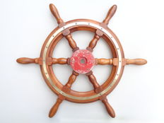 Teak wood steering wheel with brass mounts