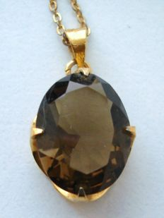 Genuine Brazilian Smoky Quartz in 14K Gold filled Belcher set statement Pendant on chain from estate