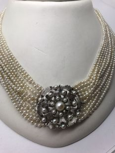 Vintage pearl necklace, 12 strand small pearls, white gold floral clasp with pearls of various sizes