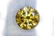 Diamond of 2.07 ct  – Fancy INTENSE Greenish Yellow - VS2 - Excellent cut - * NO RESERVE PRICE *