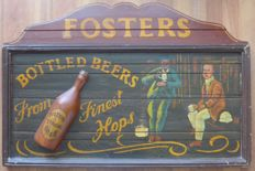 Large wooden pub sign - Fosters - 1970s/80s