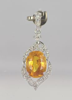 14k White Gold - Yellow Sapphire 3.01ct - Diamond 0.27ct - Size 21mm x 10.5mm