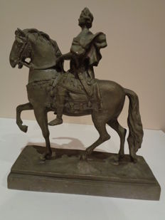 Sculpture of a Roman emperor on horseback with sceptre in hand, mid 20th century.