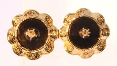 Cute brooch made around 1950 from antique earrings anno 1880 with onyx and diamond senailles