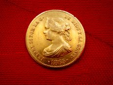 Spain - Isabel II (1833–1868) - 4 escudos in gold - 1865 - Madrid