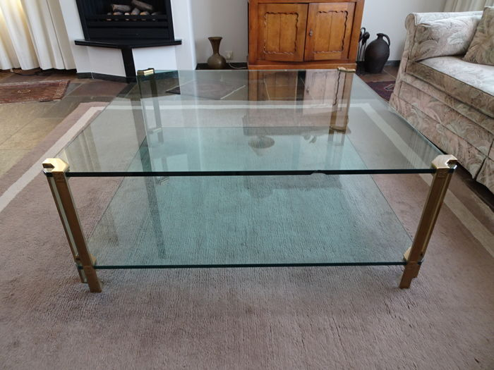 Ghyczy Salon Tafel.Peter Ghyczy Brass Glass Coffee Table Catawiki