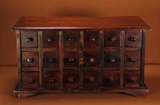 Beautiful exotic wood cabinet, 18 drawers - France - 19th century