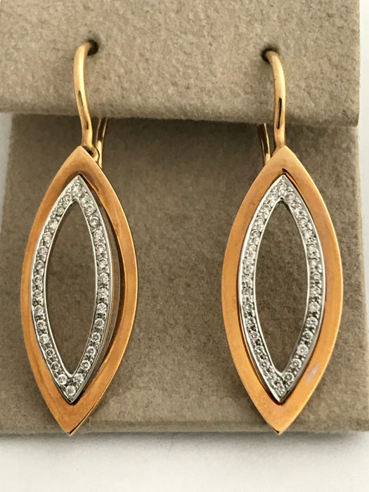 18 kt gold earrings with 60 diamonds Length with lever back: approx. 37.5 mm