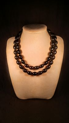 Olive shape modified dark Cherry colour Baltic amber necklace, length 46 cm ( first strand ), 102 grams