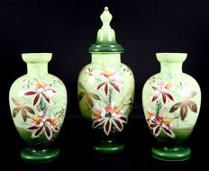 Antique 3-piece opaline glass cabinet set decorated with flowers, the Netherlands, c. 1910
