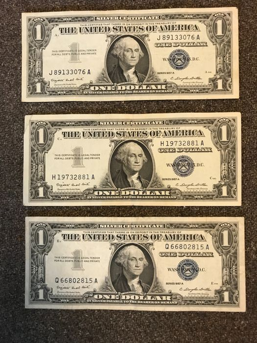 USA - 12 x 1 dollar 1957 A and B - Silver Certificate - Pick 419a ...