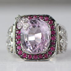 Solid ring with 5.82 ct morganite, ruby and diamond - size 6/52/16.5 - no reserve price
