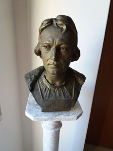 Antimony bust of Christopher Columbus, Genoa 1892