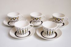 Petrus Regout, Maastricht Royal Sphinx - 5x unique vintage tea or hot chocolate cup and saucer