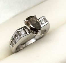 Solitaire Ring with Fancy Brown 1.16 Ct Diamond with 0.40 Ct Diamond Entourage
