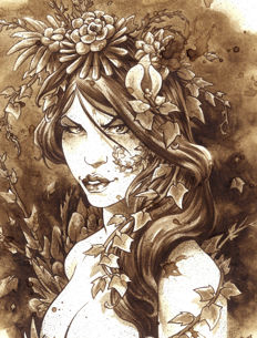 Poison Ivy - Original Coffee Drawing By Juapi