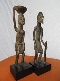 Couple of bronze ancestor figurines - DOGON - Mali