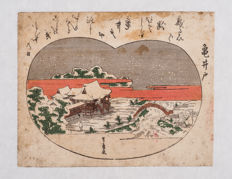 Original print by Utagawa Toyohiro (1753-1828) - 'View of Kameido Tenjin in the snow' from an untitled series of eight views of Edo in the snow - Japan - ca. 1800