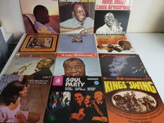 Big Jazz lot with 10 Louis Armstrong albums and 2  albums with various jazz giants: Kenny Burrell, Etta James, Ray Bryant and the Ramsy Lewis trio e.o.
