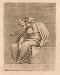 Michelangelo Buonarroti (1475 - 1564) - Sixtine Chapel  Woman with a Child, engraved by  Adamo Scultori - Ca.1550-1570