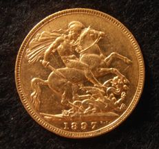"Australia - sovereign - 1897 M (Melbourne) - ""Victoria old head"" - gold"