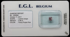 0.56  Cts Certified Fancy Purple Pink Diamond  -No Reserve