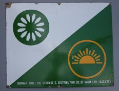 Enamel Sign BURMAH-SHELL Motor Oil - INDIA - 1950ies