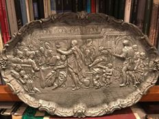"19th Century European Pewter large decorative tray in relief  depicting scene of the ""Marriage at Caná"""